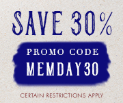 Save with promo code MEMDAY30